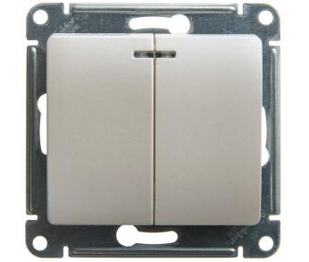 GLOSSA Выключатель 2кл. с подвсеткой (сх.5) перламутр 20 шт упаковка