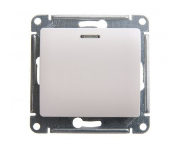 GLOSSA Выключатель 1кл. с подсв. (сх.1) перламутр