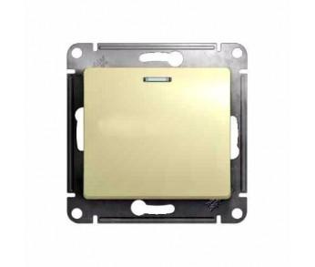 GLOSSA Переключатель 1кл. с подсветкой сх.6 беж. (упак. 20шт)