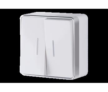 Werkel Выключатель двухклавишный с подсветкой белый Gallant