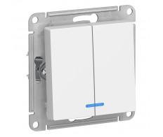 ATLASDESIGN Выключатель 2кл. с подсв. (сх.5а) белый (20шт/упак)