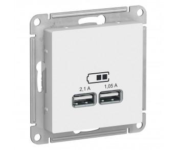 ATLASDESIGN Розетка USB 5В 1п. x 2,1А 2п. х 1,05А белый (упак.8шт.)