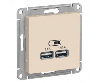 ATLASDESIGN Розетка USB 5В 1п. x 2,1А 2п. х 1,05А бежевый (упак.8шт.)