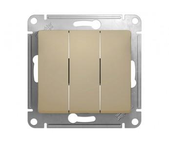 GLOSSA Выключатель 3кл. (сх.3) беж. (упак 20шт.)