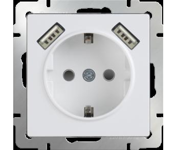 Werkel Розетка 1-ая с заземлением, шторками и USB х2 белая (W1171501)