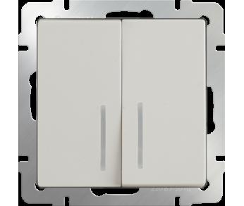 Werkel Выключатель 2-клавишный проходной с подсветкой слоновая кость