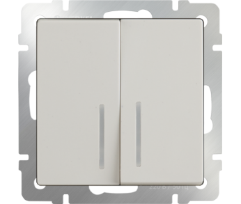 Werkel Выключатель 2-клавишный с подсветкой слоновая кость