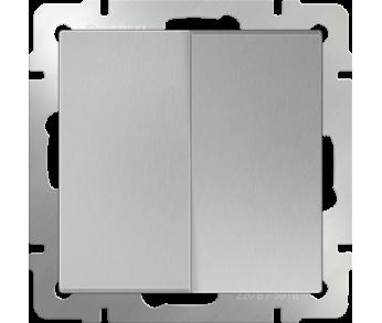 Werkel Выключатель 2-клавишный проходной серебряный