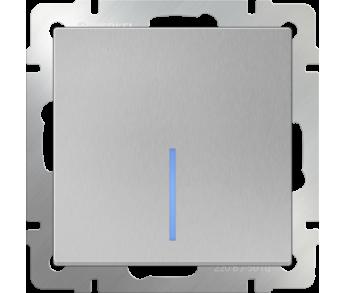 Werkel Выключатель 1-клавишный проходной с подсветкой серебряный