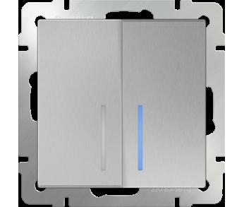 Werkel Выключатель 2-клавишный проходной с подсветкой серебряный
