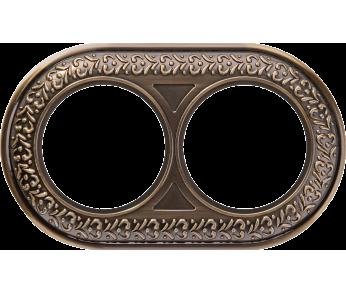 Werkel рамка 2 поста бронза Antik Runda
