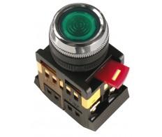 Кнопка зеленая ABLFS-22 плоская с подсветкой неон 1з+1р 240В IEK