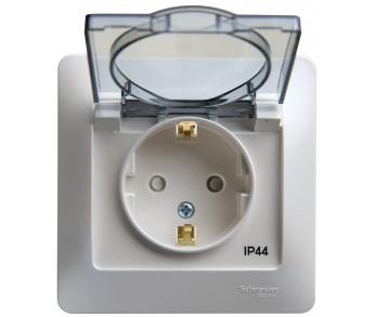 GLOSSA Розетка с/з с/ш с крышкой в рамке IP44 перламутр (упак.10шт.)