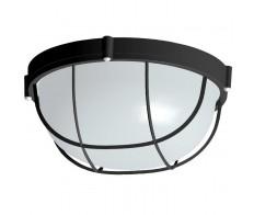 Светильник 1102 черный круг с рещеткой