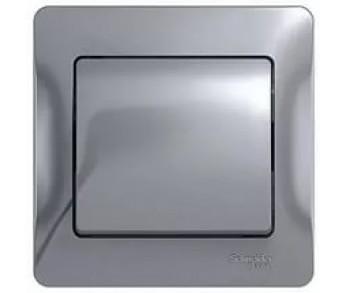 GLOSSA Выключатель 1кл. в сборе (сх.1) алюминий (упак. 15шт.)