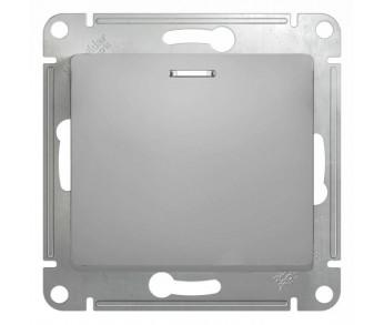GLOSSA Выключатель 1кл. с подсв. (сх.1а) алюминий (упак. 20шт.)