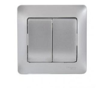 GLOSSA Выключатель 2кл. в сборе (сх.5) алюминий (упак. 15шт.)