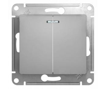 GLOSSA Выключатель 2кл. с подсв. (сх.5а) алюминий (упак 20шт.)