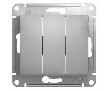 GLOSSA Выключатель 3кл. (сх.3) алюминий (упак 20шт.)