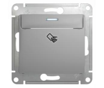 GLOSSA Выключатель карточный (сх.6) алюминий (упак. 20шт.)