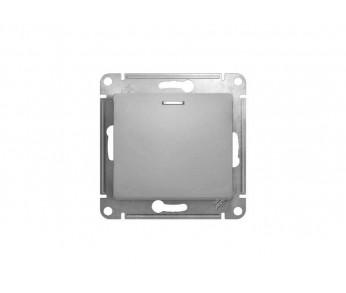 GLOSSA Кнопка нажимная с подсветкой (сх.1) алюминий (упак. 20шт.)
