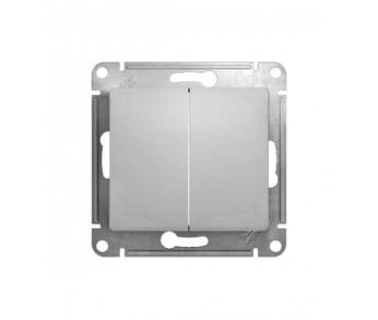 GLOSSA Переключатель 2кл. сх.6 алюминий (упак. 20шт)