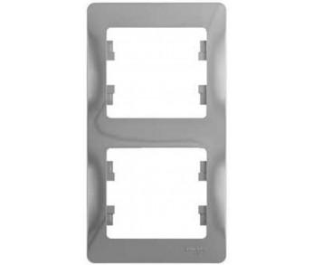 GLOSSA Рамка 2-ая верт. алюминий (упак. 30шт.)