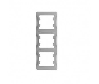 GLOSSA Рамка 3-ая верт. алюминий (упак. 15шт.)