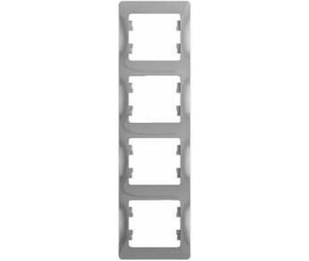 GLOSSA Рамка 4-ая верт. алюминий (упак 15шт.)