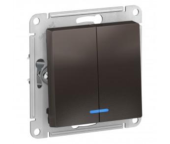 ATLASDESIGN Выключатель 2кл. с подсв. (сх.5а) мокко (10шт/упак)