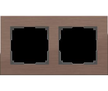 Werkel Рамка на 2 поста коричневый алюминий Aluminium