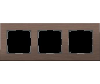Werkel Рамка на 3 поста коричневый алюминий Aluminium