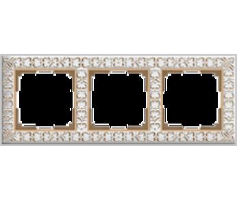 Werkel Рамка на 3 поста белое золото Antik