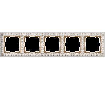 Werkel Рамка на 5 постов белое золото Antik