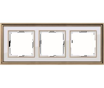 Werkel Рамка на 3 поста золото/белый Palacio