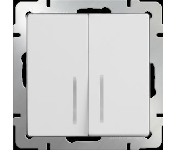 Werkel Выключатель 2-клавишный с подсветкой белый