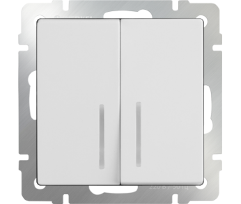 Werkel Выключатель 2-клавишный проходной с подсветкой белый