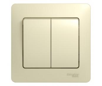 GLOSSA Выключатель 2кл. в сборе (сх.1) беж. (упак. 20шт.)