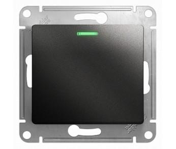 GLOSSA Выключатель с подсветкой 1кл. антрацит (упак. 20шт.)