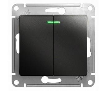 GLOSSA Выключатель с подсветкой 2кл. антрацит (упак. 20шт.)