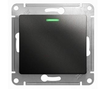 GLOSSA Переключатель с подсветкой 1кл. антрацит (упак. 20шт.)