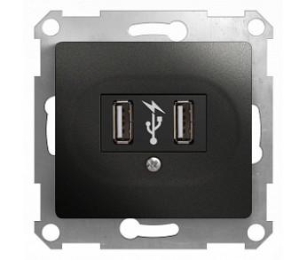 GLOSSA Розетка USB антрацит
