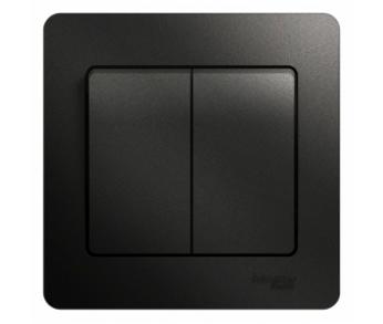 GLOSSA Выключатель 2кл. антрацит (упак. 20шт.)