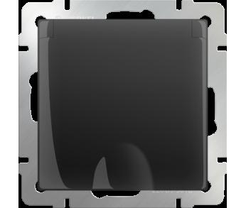 Werkel Розетка 1-ая влагозащищенная с заземлением с защитной крышкой и шторками чёрная