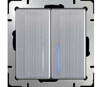 Werkel Выключатель 2-клавишный проходной с подсветкой глянцевый никель