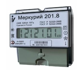 Счетчик эл.энергии Меркурий 201.8 5/80А Т1 D 230В импульсный выход ЖК