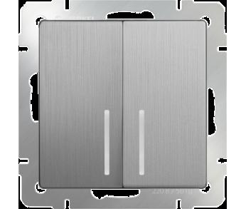Werkel Выключатель 2-клавишный с подсветкой серебряный рифленый