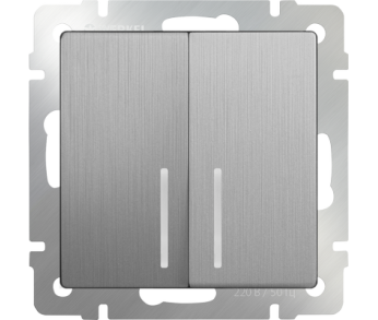 Werkel Выключатель 2-клавишный проходной с подсветкой серебряный рифленый