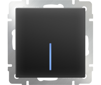 Werkel Выключатель 1-клавишный проходной с подсветкой чёрный
