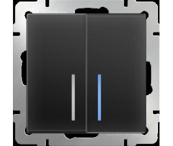 Werkel Выключатель 2-клавишный проходной с подсветкой чёрный